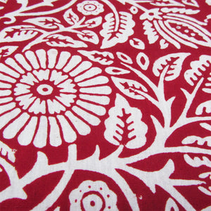Organic Scarlet Floral Hand Block Cotton Cambric