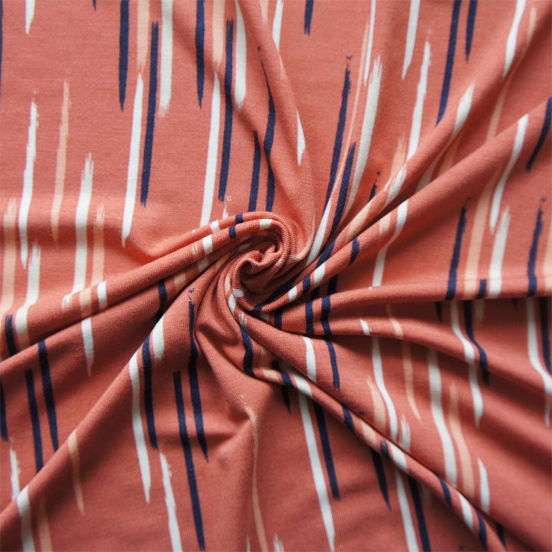 REMNANT: Cinnamon Brush Strokes Bamboo Jersey