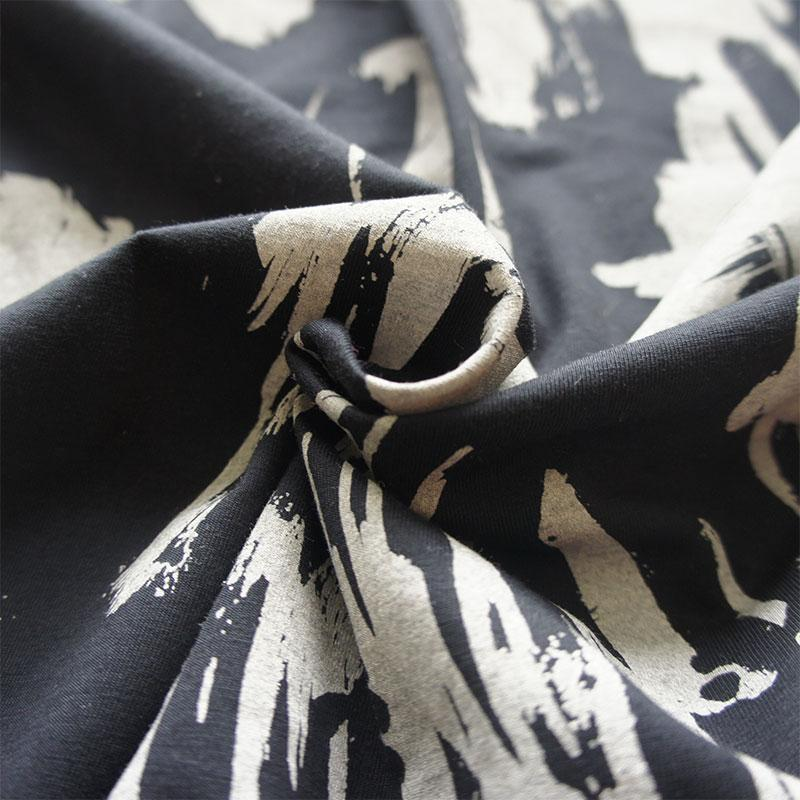 Black & Ecru Paint Organic Cotton Jersey