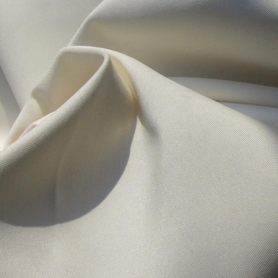 Recycled polyester satin fabric in ivory, twisted to show drape