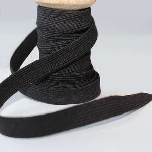 Organic Cotton Elastic - Black 15mm