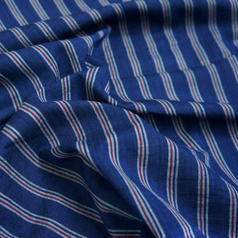 Yarn Dyed Khadi Cotton Shirting - Tricolore Stripe