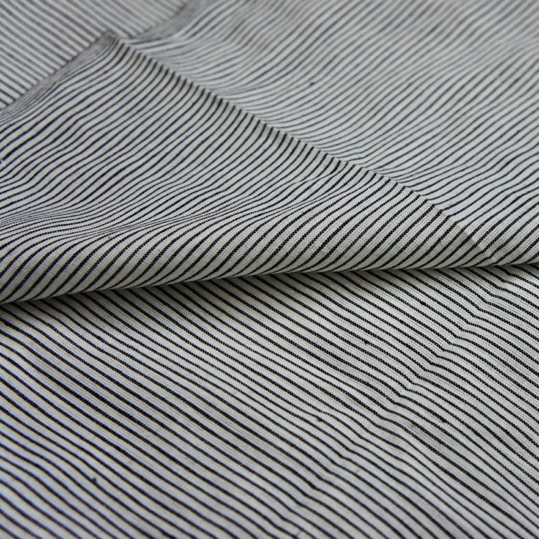 Yarn Dyed Khadi Cotton Shirting - Ticking Stripe
