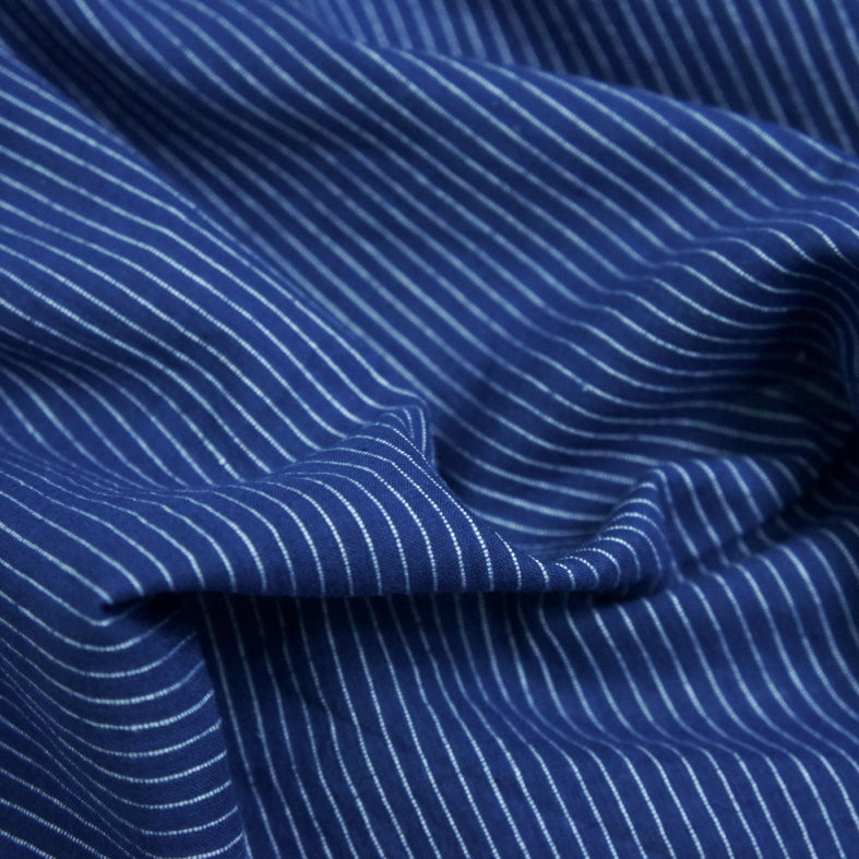 Yarn Dyed Khadi Cotton Shirting - Navy Pinstripe