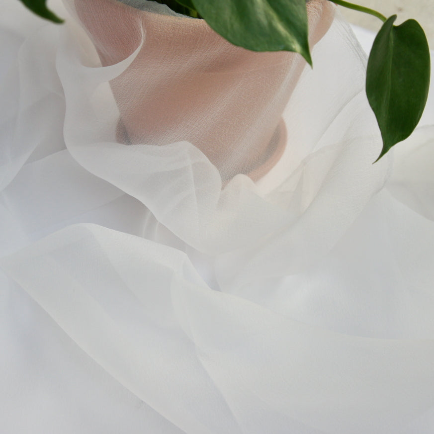 Recycled Polyester Organza - Misty White