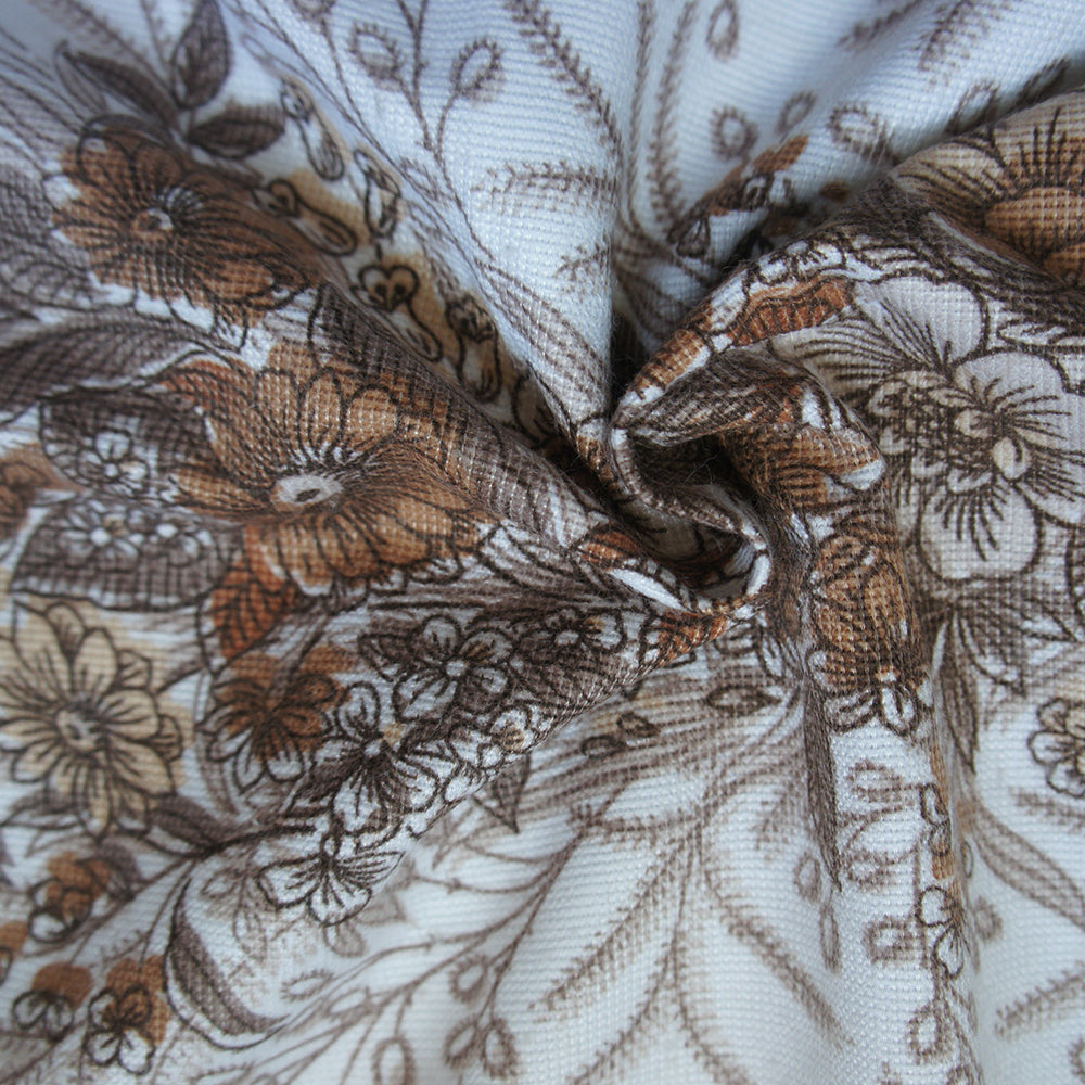Brown Floral Bed Throw
