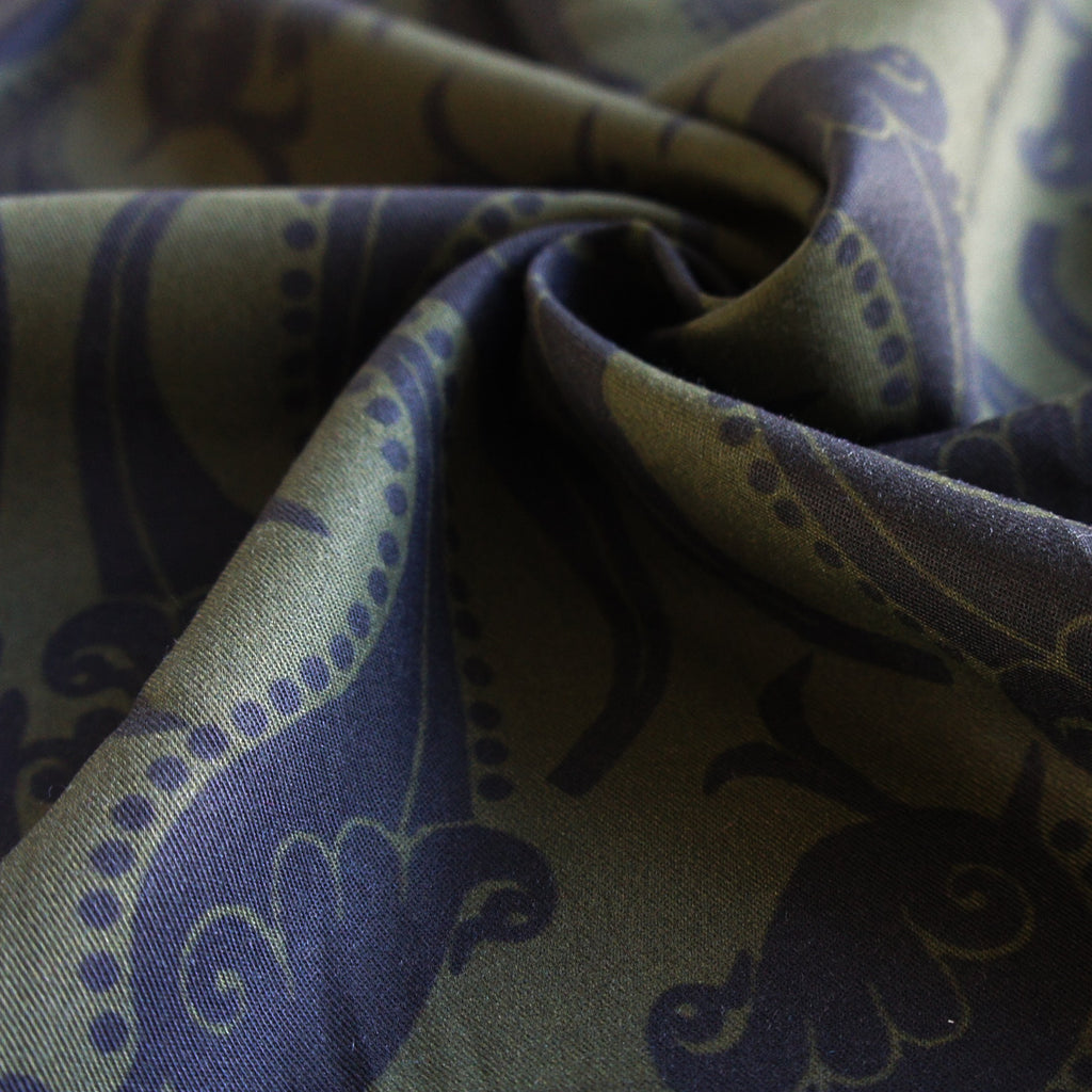 REMNANT: Olive Oversized Paisley Tencel