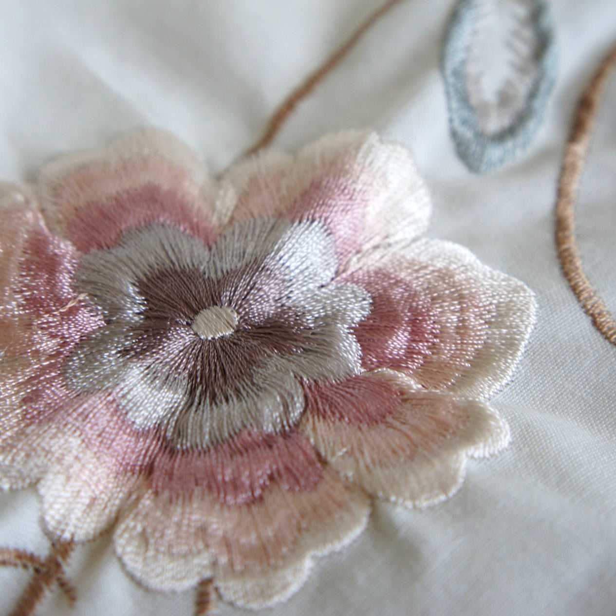 Cream Poly-Cotton with Embroidery