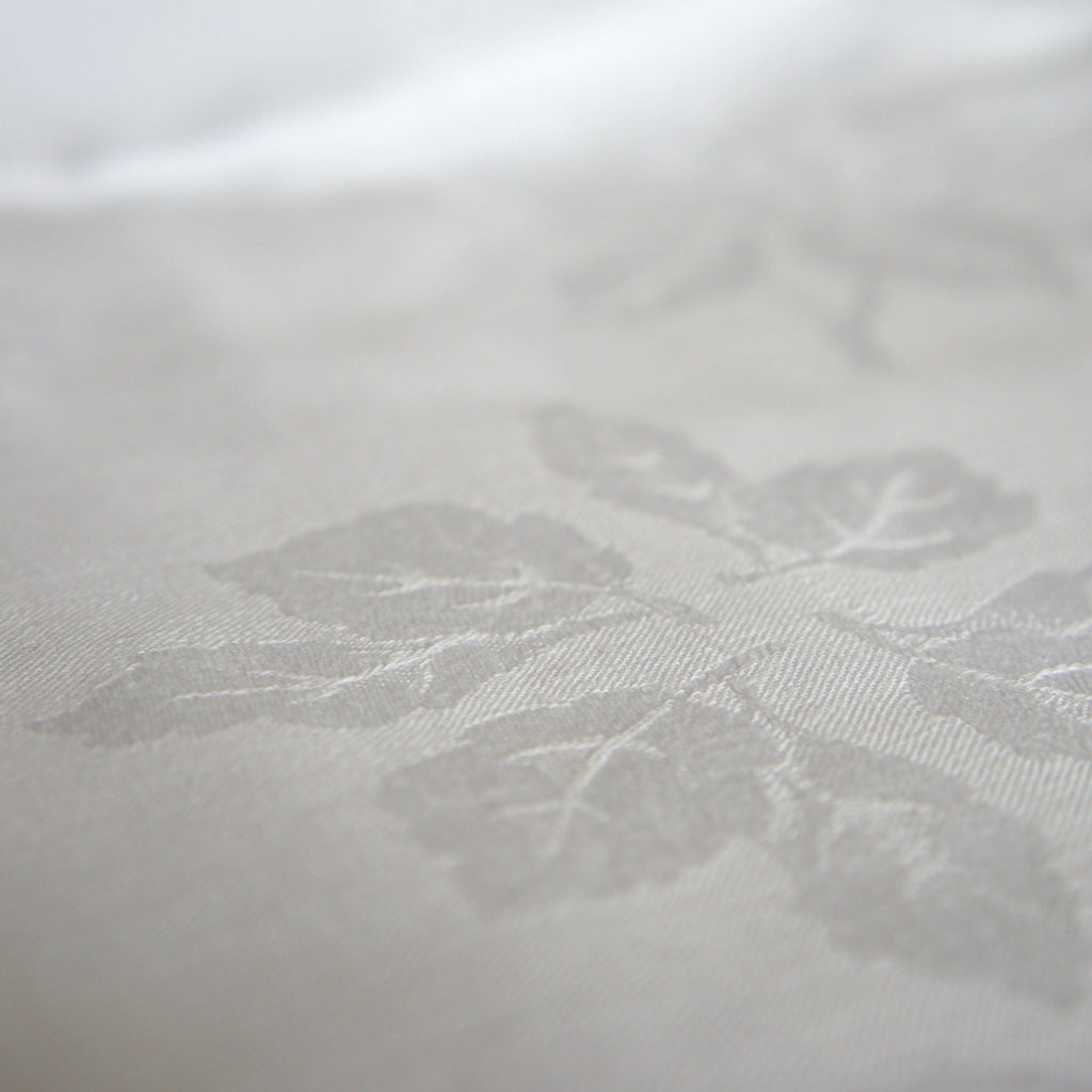 White Heavyweight Twill Leaf Pattern Weave