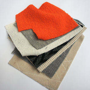 REMNANT: Bundle Of Chunky Textured Wool Fabric Pieces
