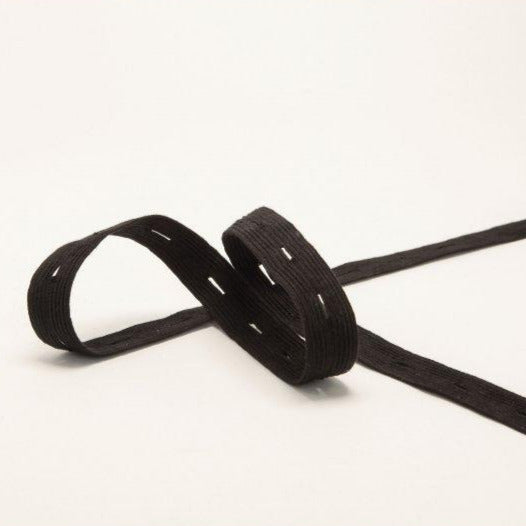 Organic Cotton Elastic Tape - Black Buttonhole 18mm