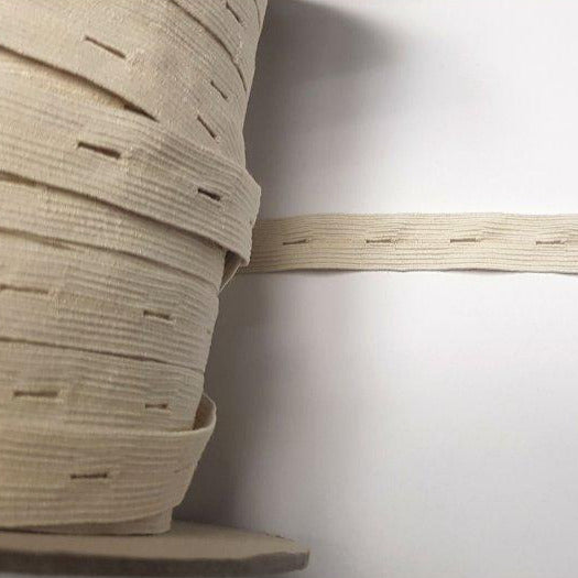 Organic Cotton Elastic Tape - Ecru Buttonhole 18mm