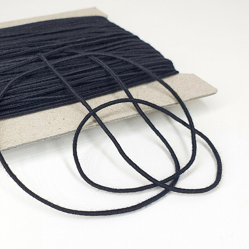 Organic Cotton Elastic Cord - Black 1.1mm