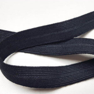 Organic Cotton Elastic Tape - Black Edge Binding 15mm