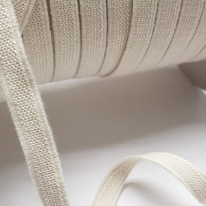 Organic Cotton Elastic Tape - Ecru Fleece 11mm