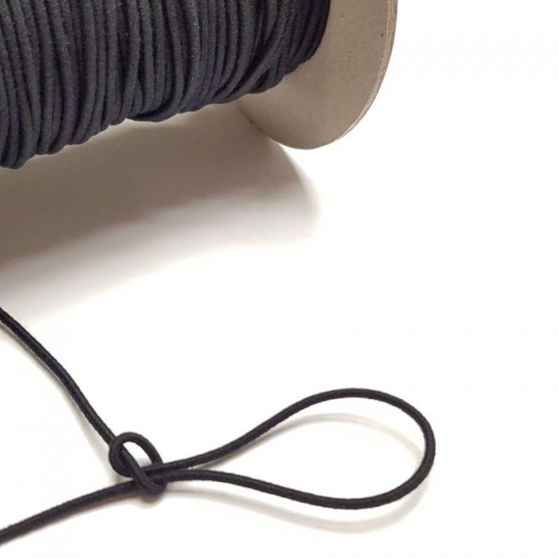 Organic Cotton Elastic Cord - Black 2.2mm