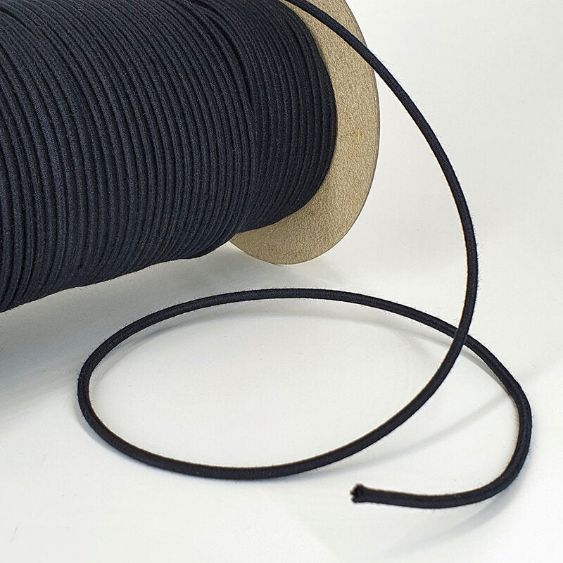 Organic Cotton Elastic Cord - Black 3mm