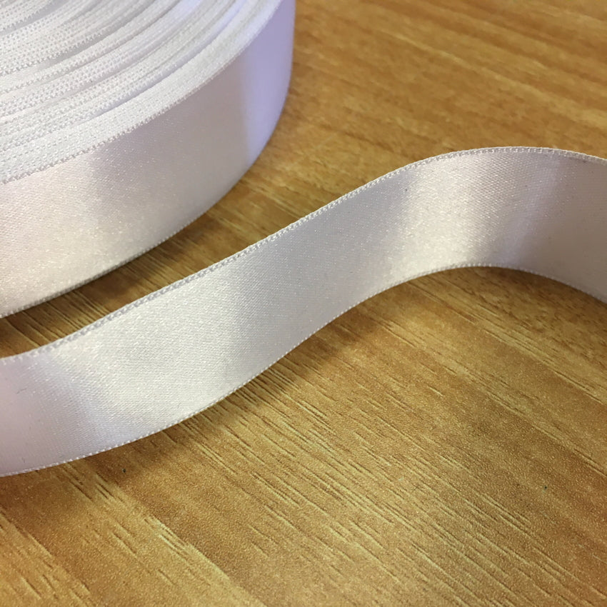 White Polyester Satin Ribbon - 25mm