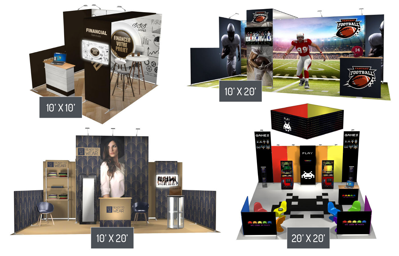 Contour portable trade show booth solutions 10' x 10', 10' x 20' and 20' x 20;