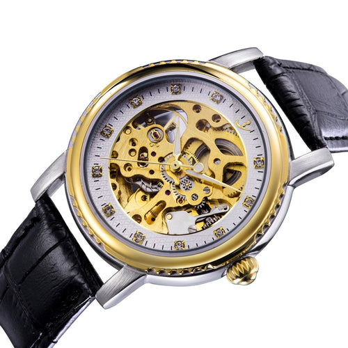 Men's Mechanical Watch, Leather Strap Gold Dial Skeleton Watch