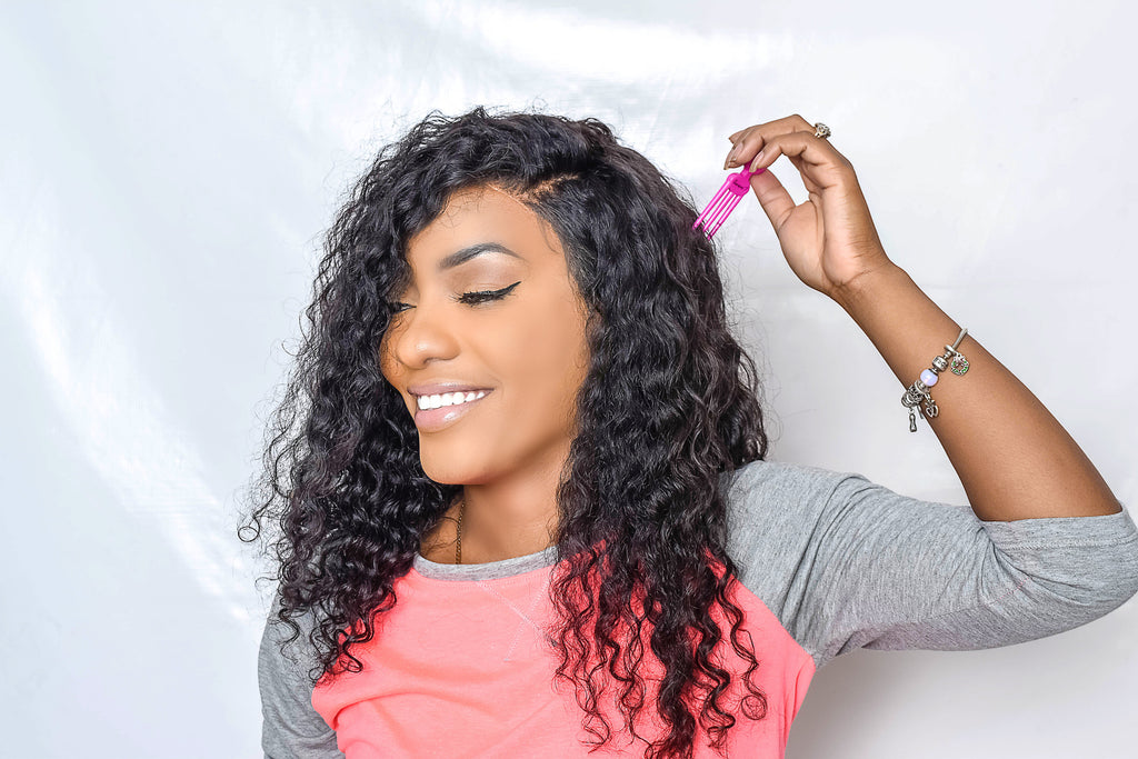 Model Using Three Pronged Scalp Scratcher Soother Tool For Itchy Weaves Braids Locs