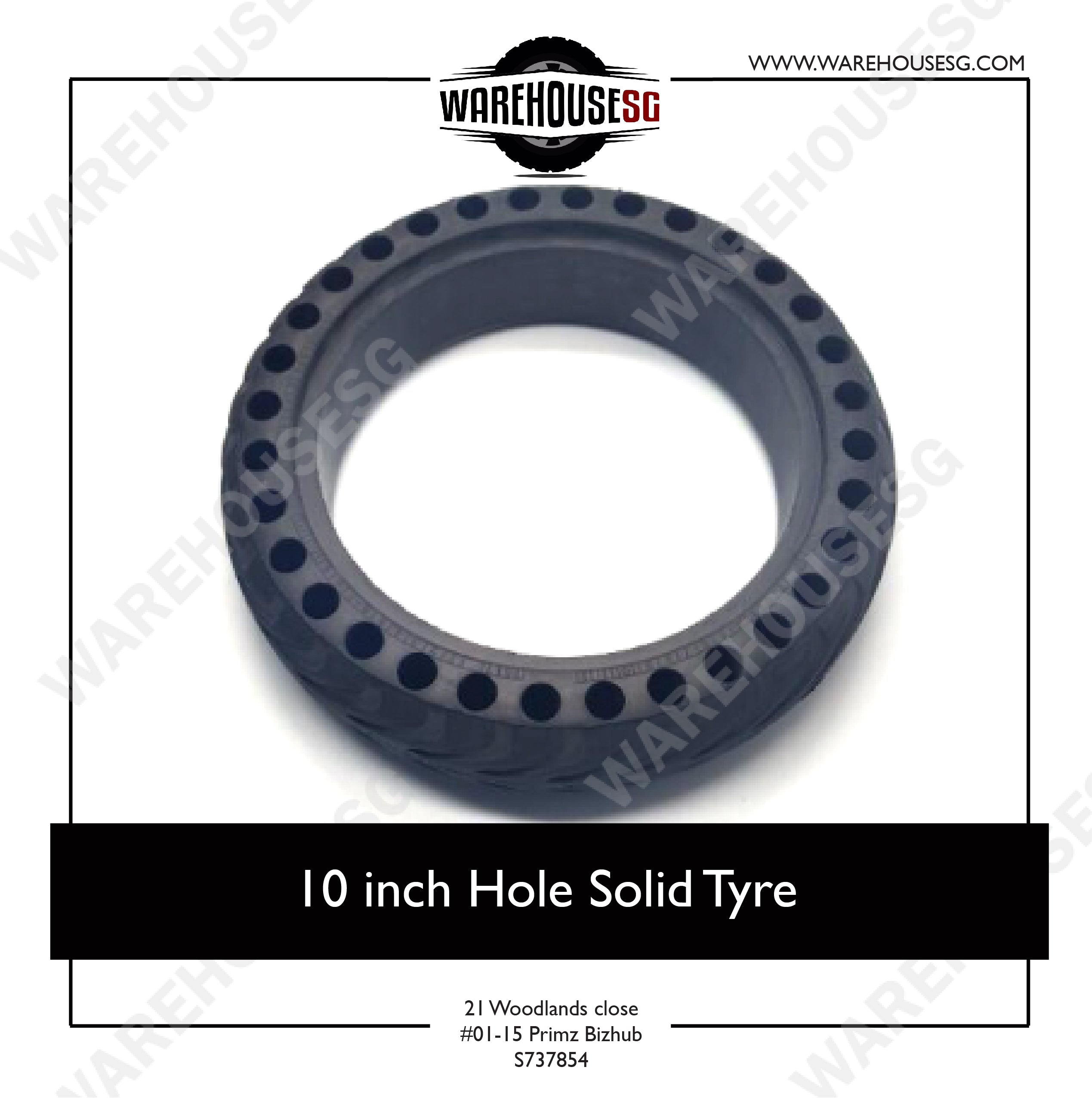 10 Inch Hole Solid Tyre w Hole