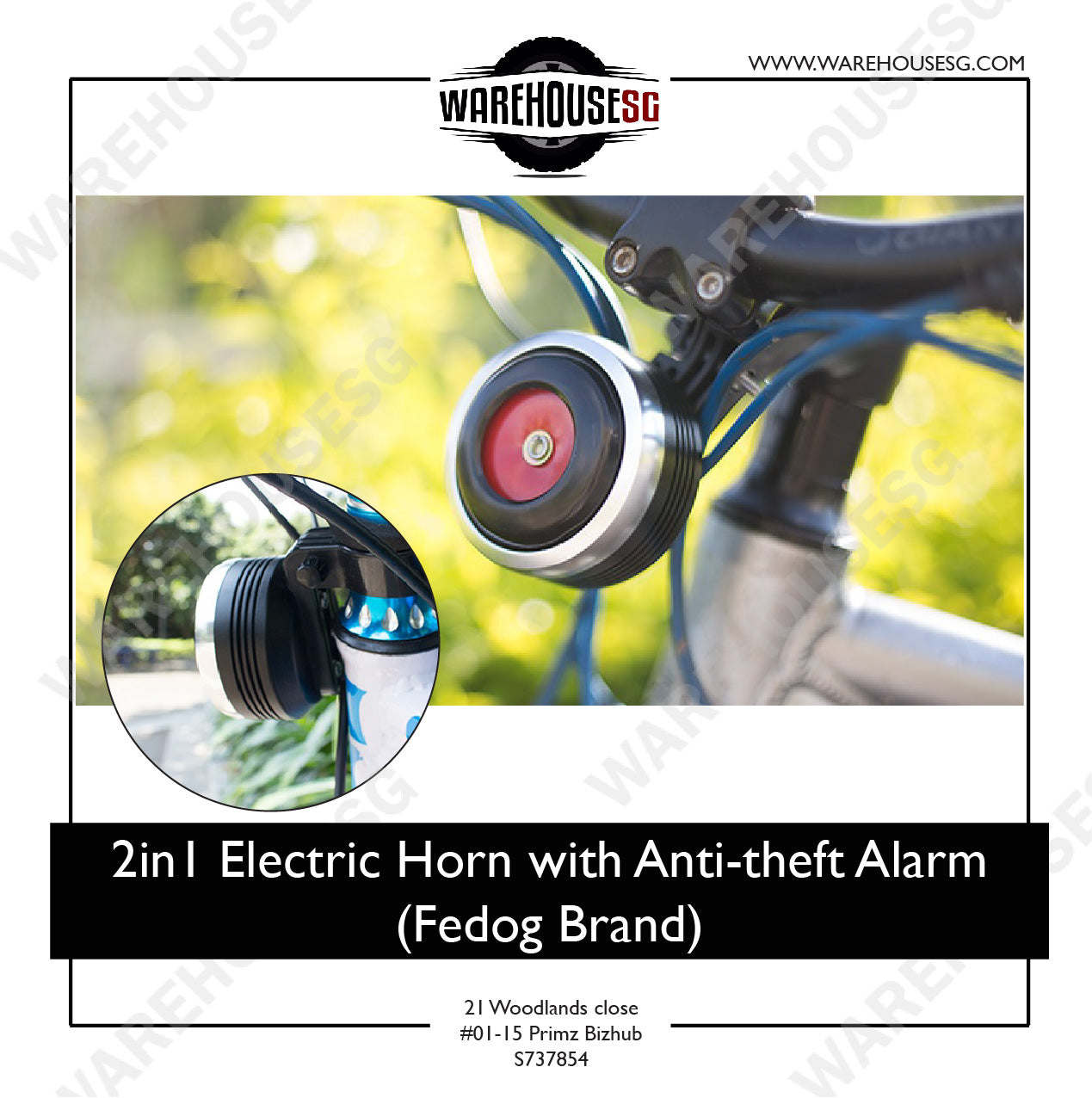 (Fedog Brand) 2in1 Electric Horn With/ Without Anti-theft Alarm