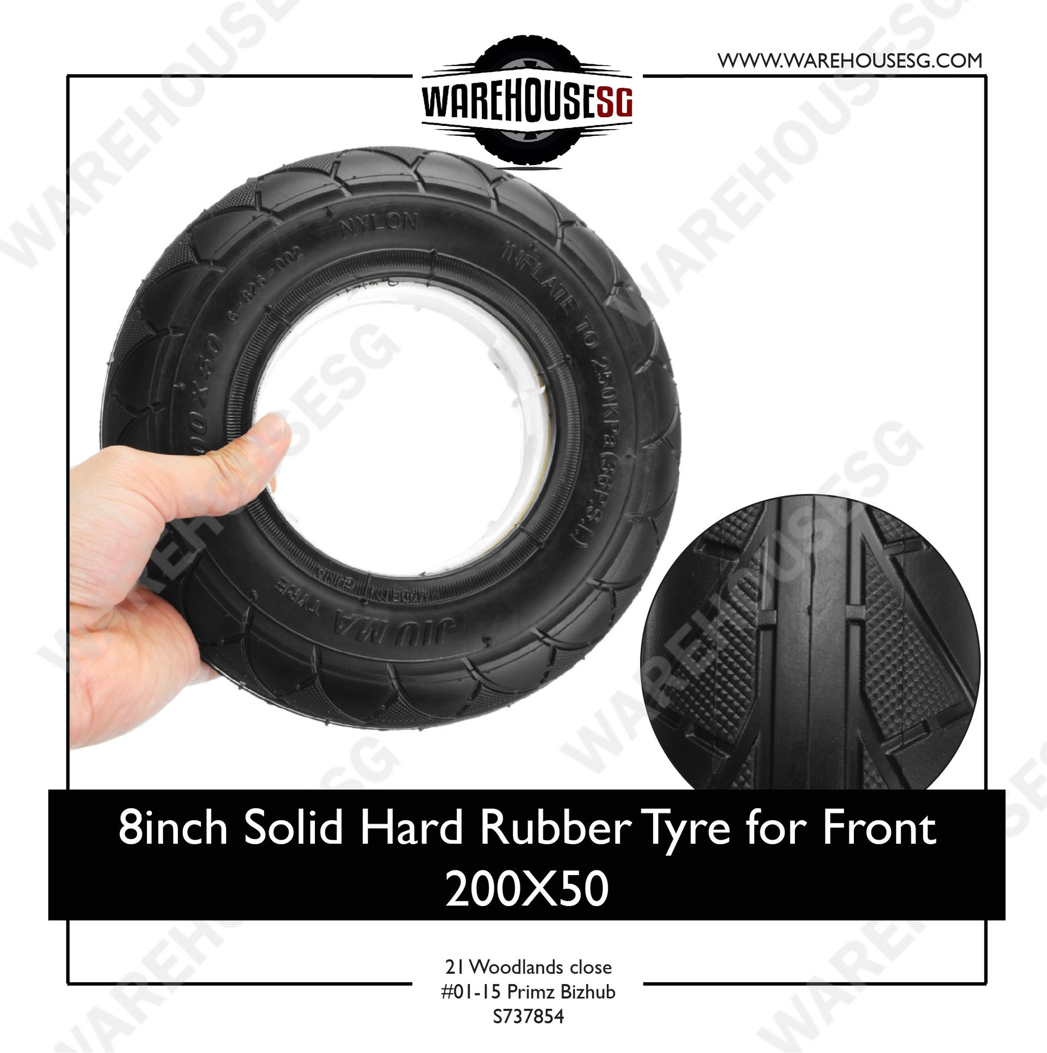 8inch Solid Hard Rubber Tyre for Front 200X50