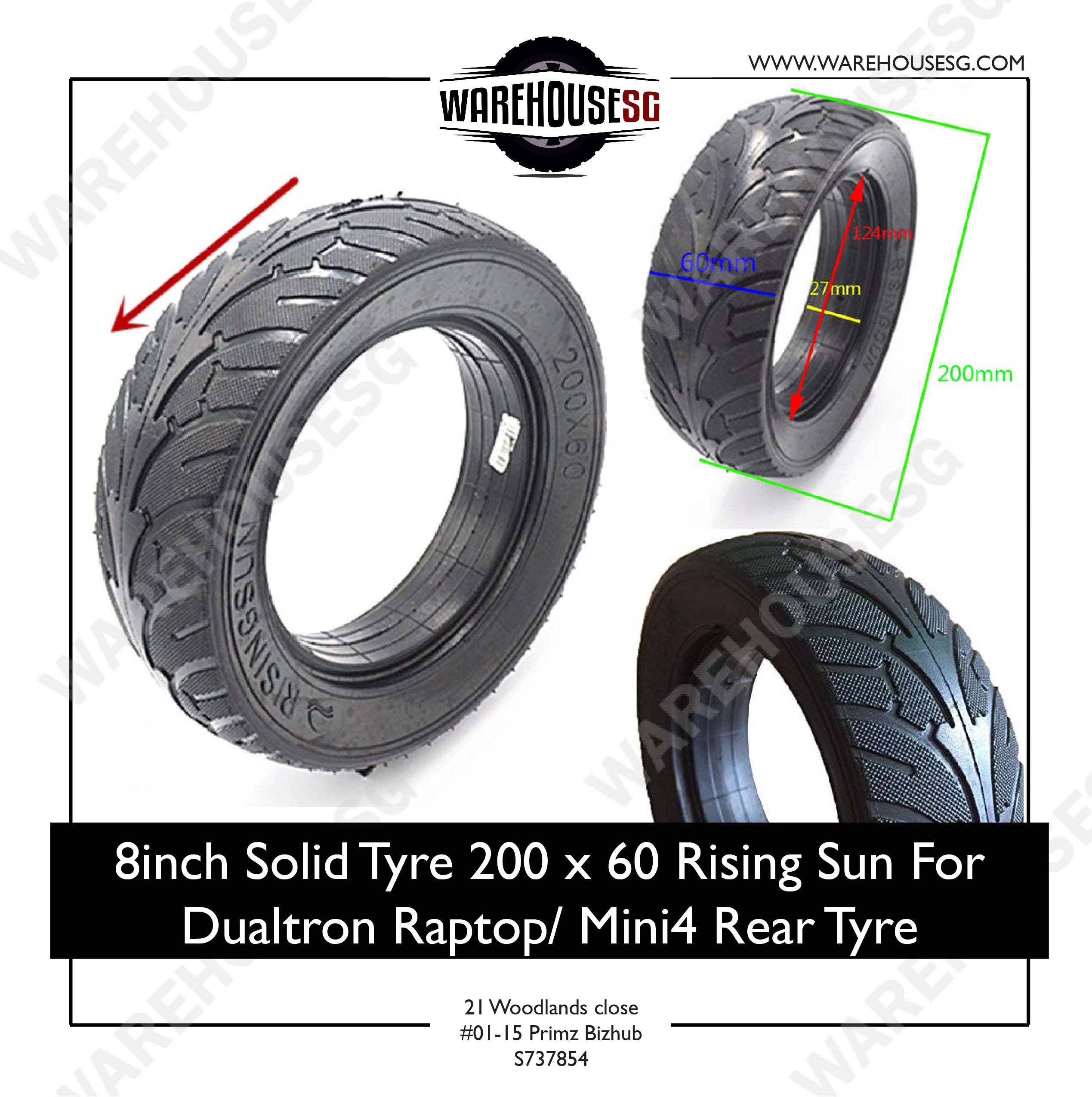8 inch Solid Tyre 200 x 60 Rising Sun For Dualtron/ Raptop Mini4 Rear Tyre