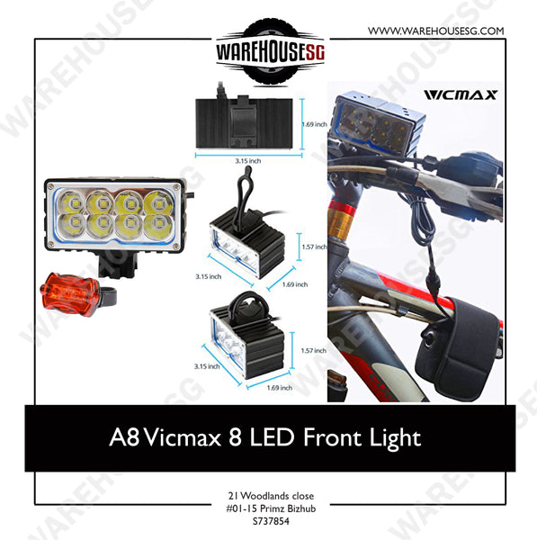 A8 Vicmax 8 LED Front Light for Scooter/Bike