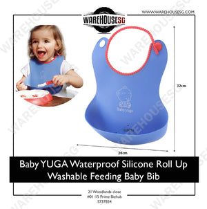 ★AUTHENTIC Baby YUGA★ Waterproof Silicone Roll Up Washable Feeding Baby Bib Crumb Catcher BPA Free