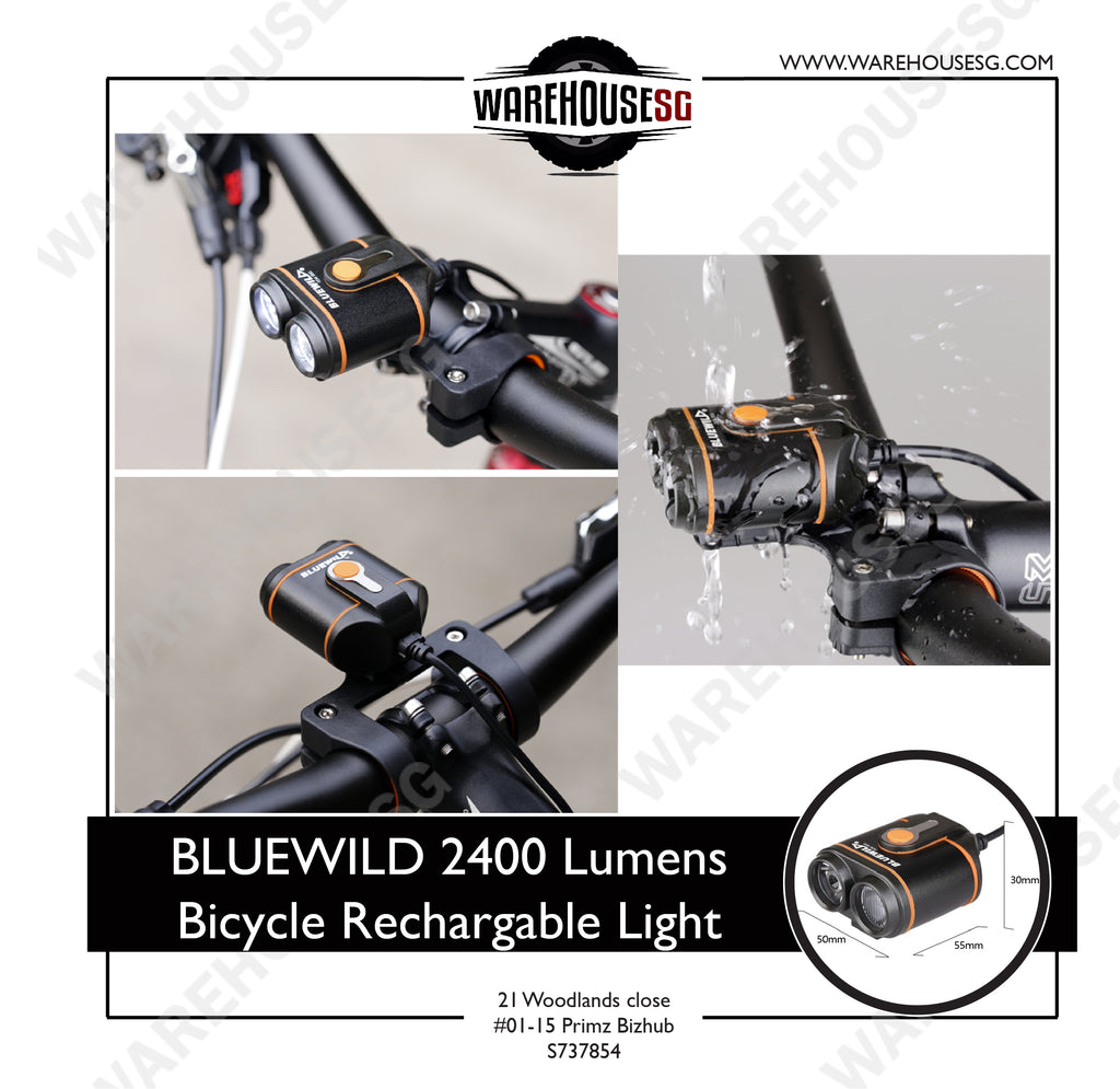 BLUEWILD 2400 Lumens Bicycle Rechargable Light