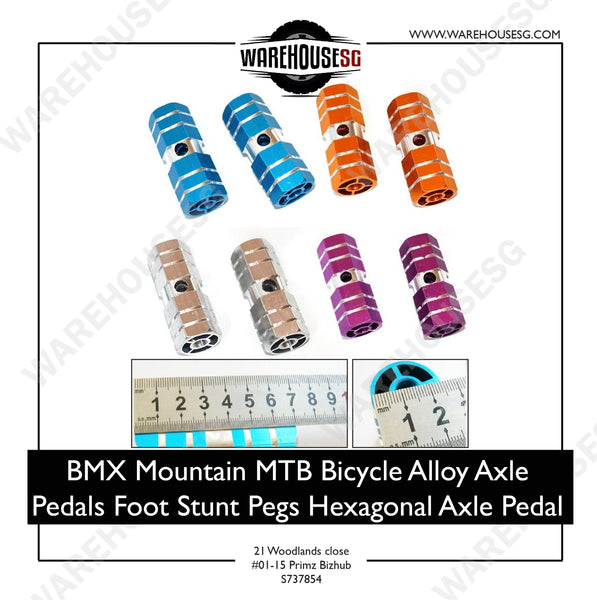 BMX Mountain MTB Bicycle Alloy Axle Pedals Foot Stunt Pegs Hexagonal Axle Pedal