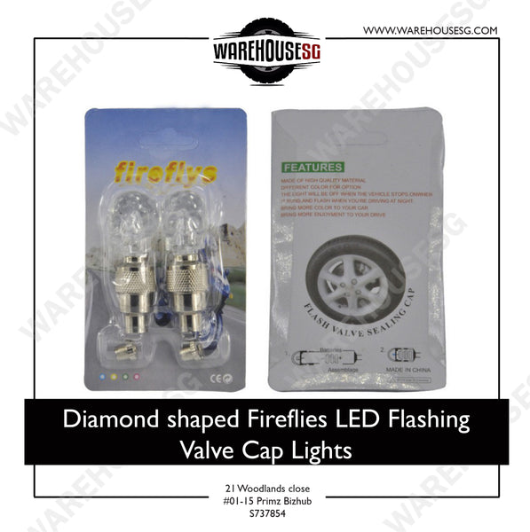 Diamond shaped Fireflies LED Flashing Valve Cap Lights