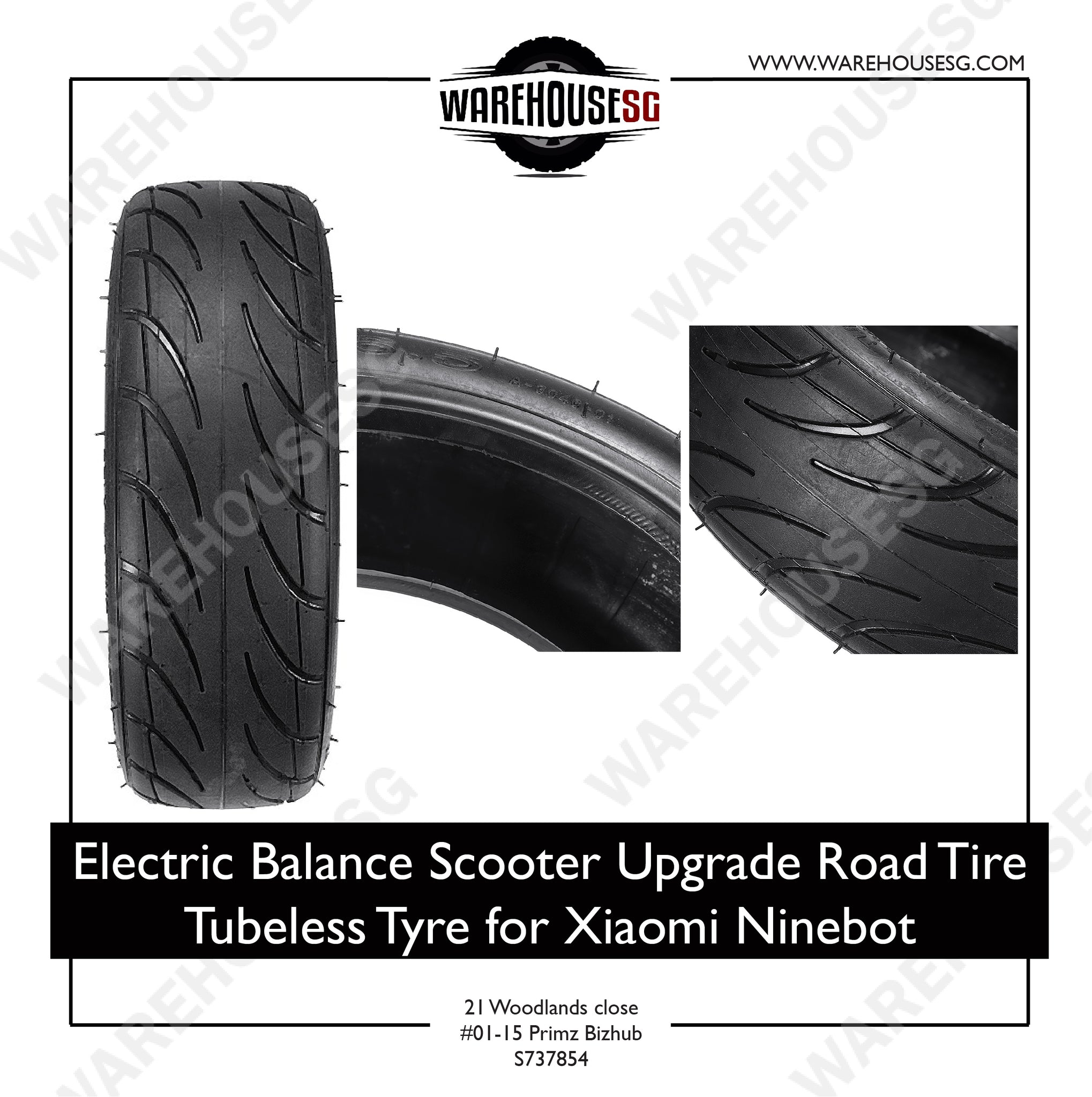 Electric Balance Scooter Upgrade Road Tire Tubeless Tyre for Ninebot 70/65-6.5