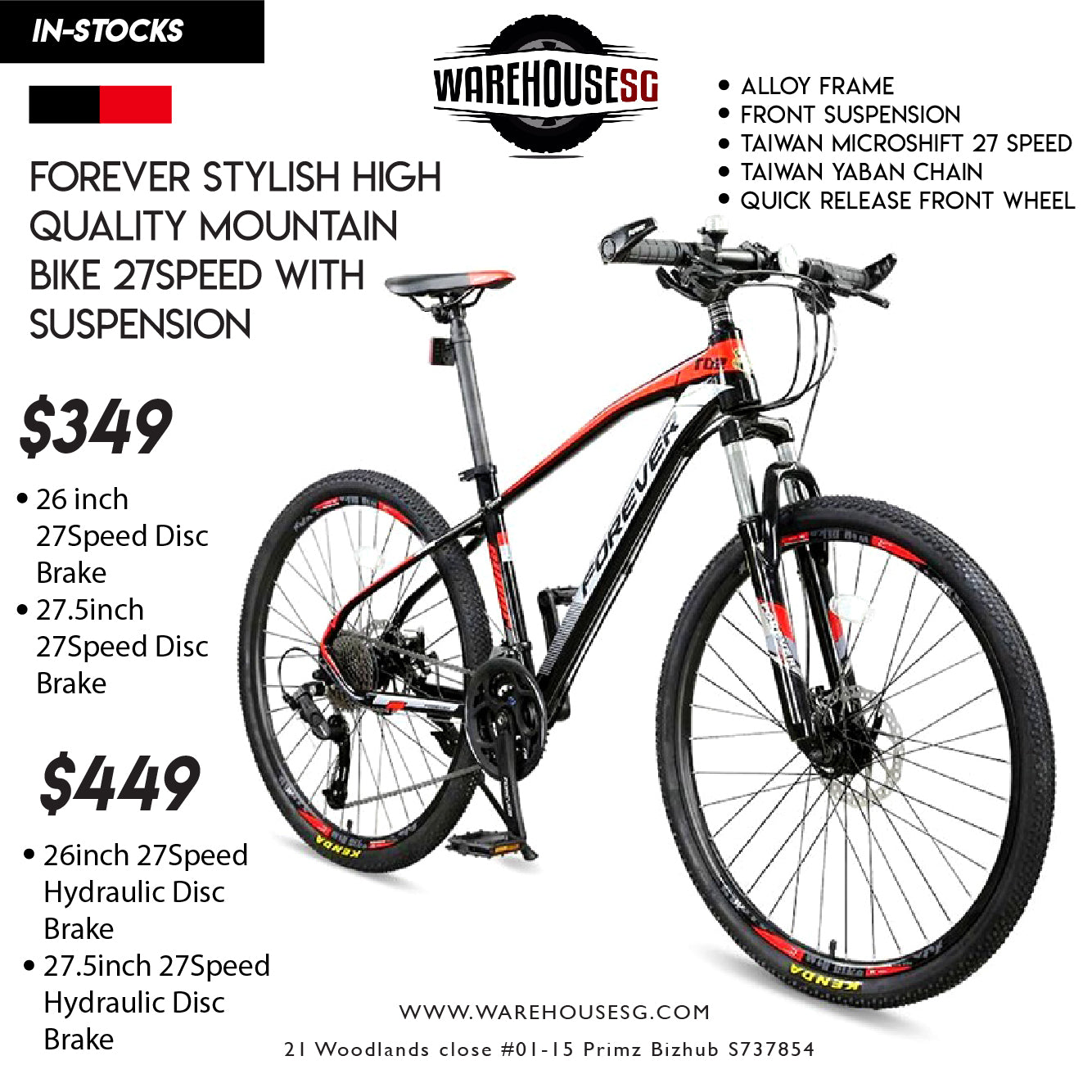 FOREVER Stylish High Quality Mountain Bike 27Speed with Suspension Bicycle