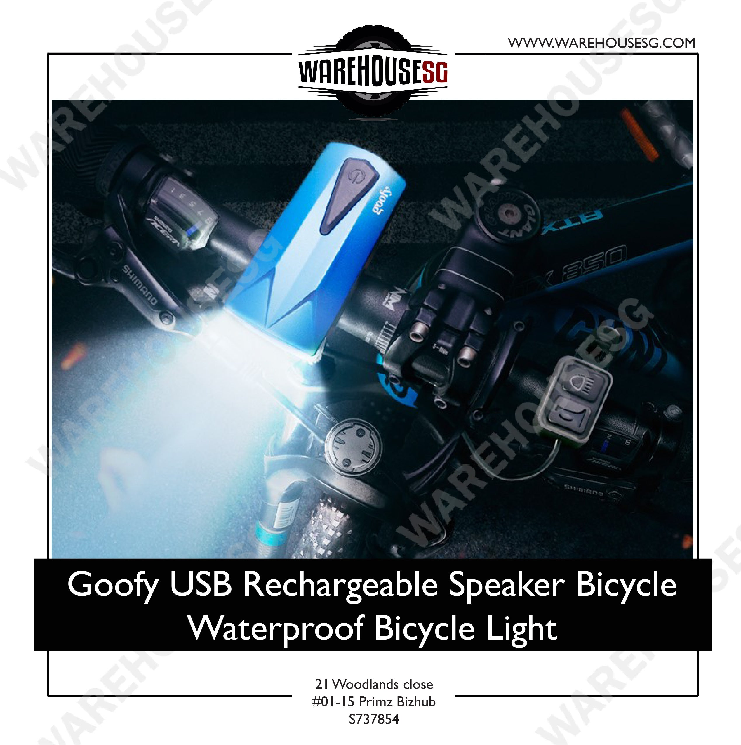 Goofy USB Rechargeable Speaker Bicycle Waterproof Bicycle Light