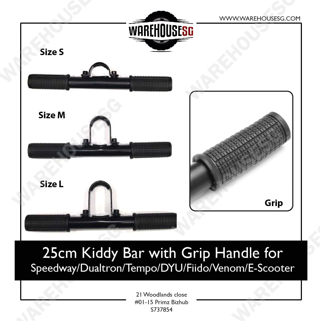 25cm Kiddy Bar with Grip Handle for  Speedway/Dualtron/Tempo/DYU/Fiido/Venom/E-Scooter