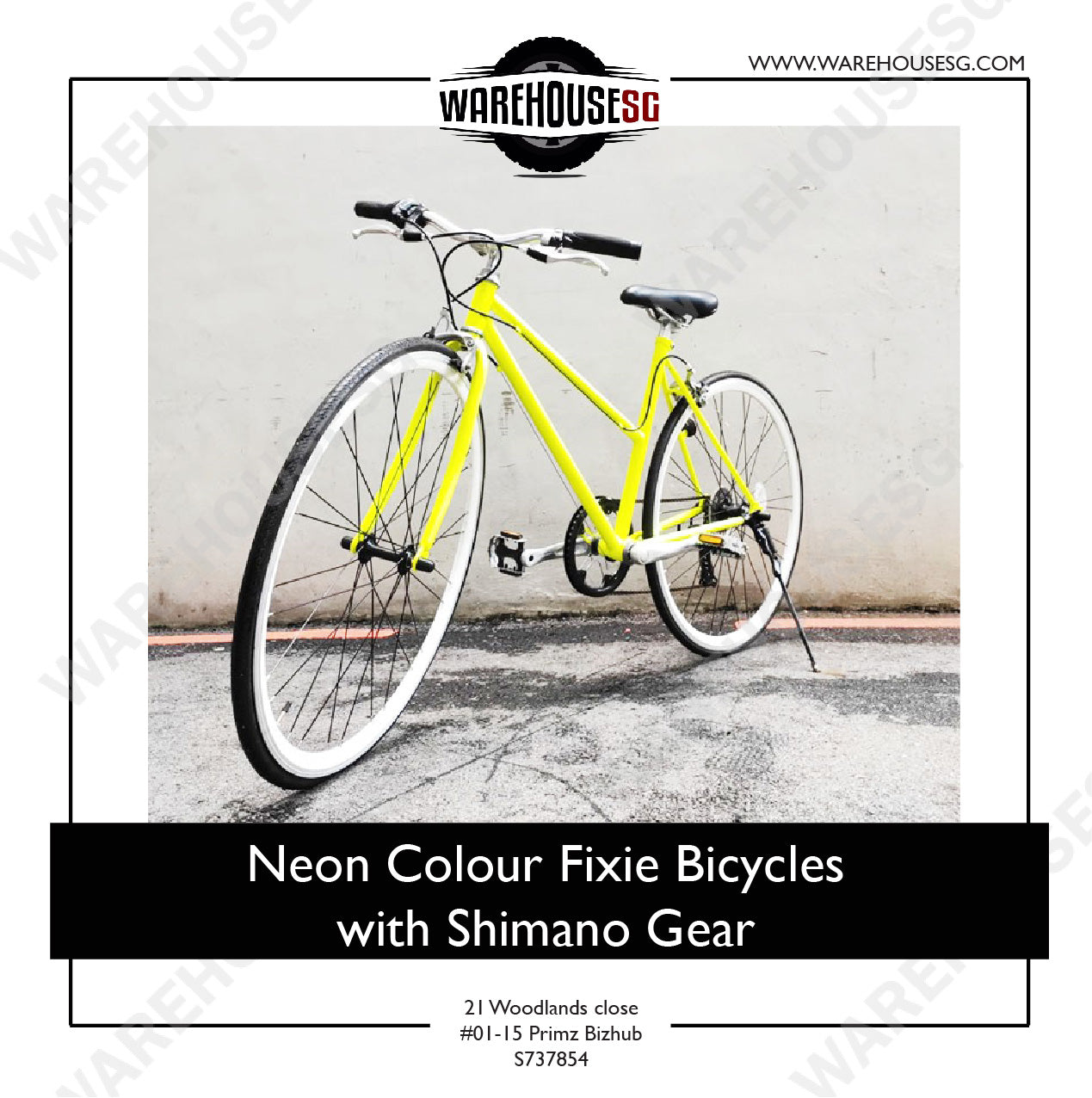 Neon Colour Fixie Bicycles with Shimano Gear
