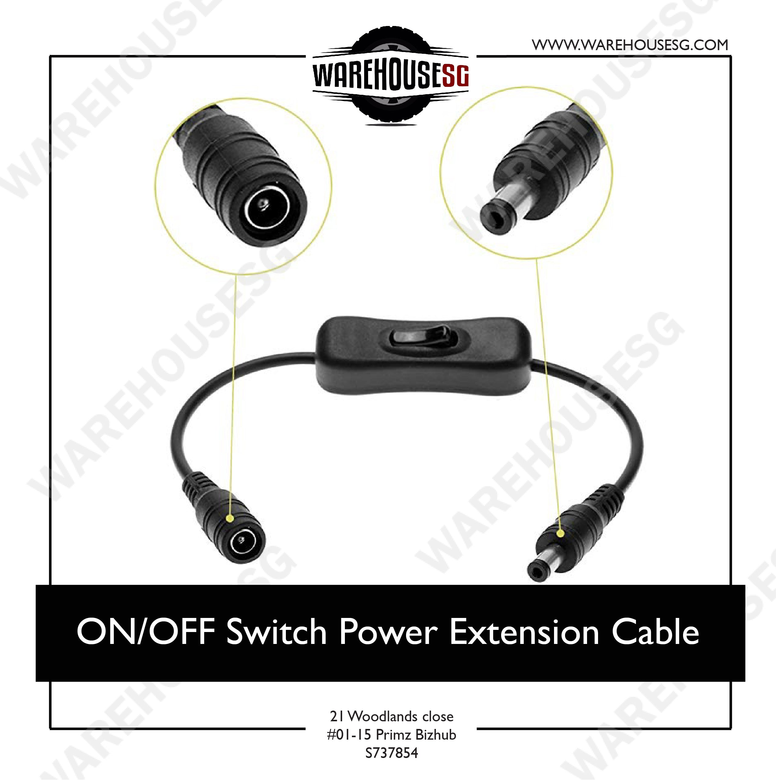 ON/OFF Switch Power Extension Cable