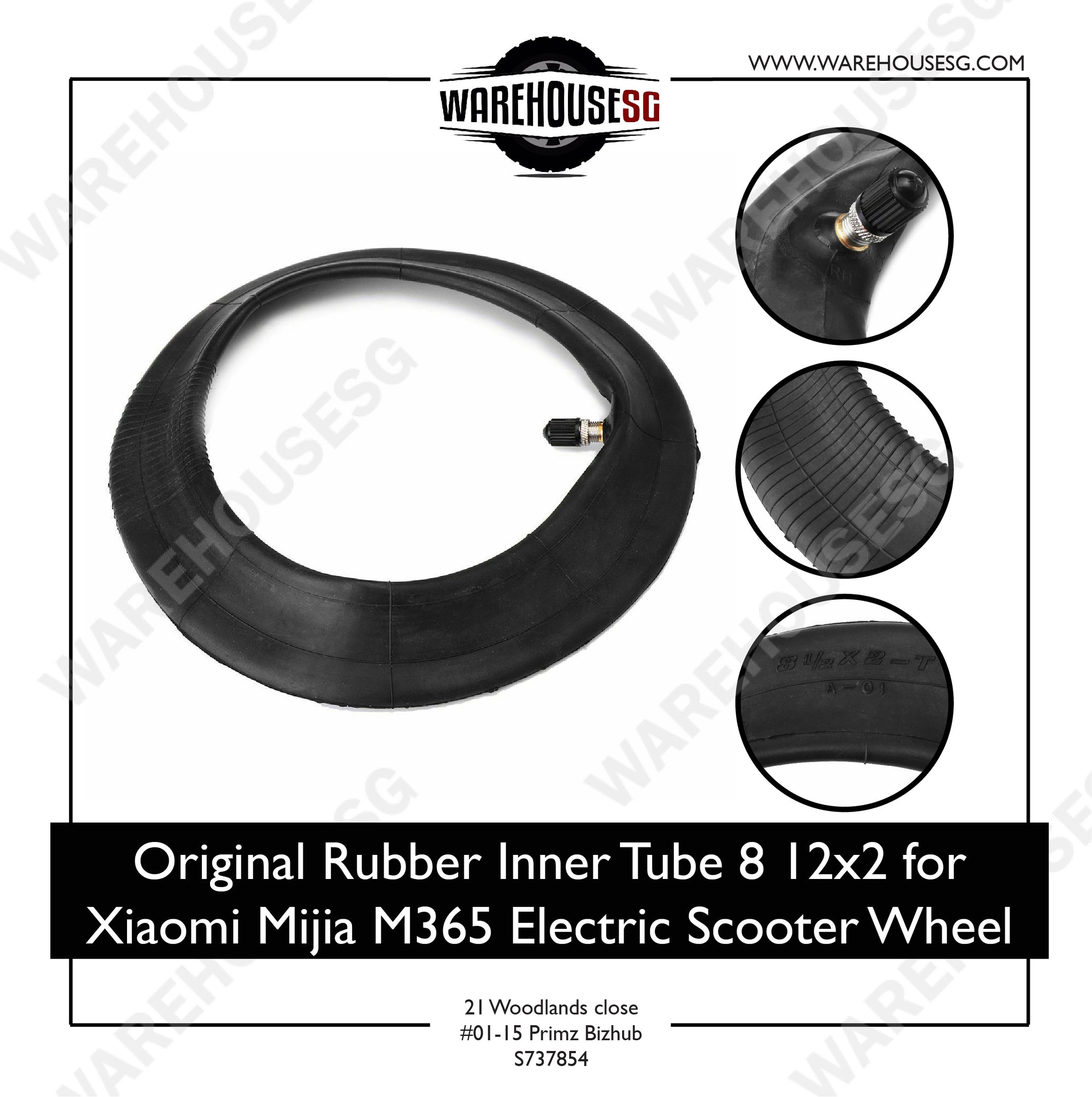 Original Rubber Inner Tube 8 1/2x2 for Xiaomi Mijia M365 Electric Scooter Wheel Tyre