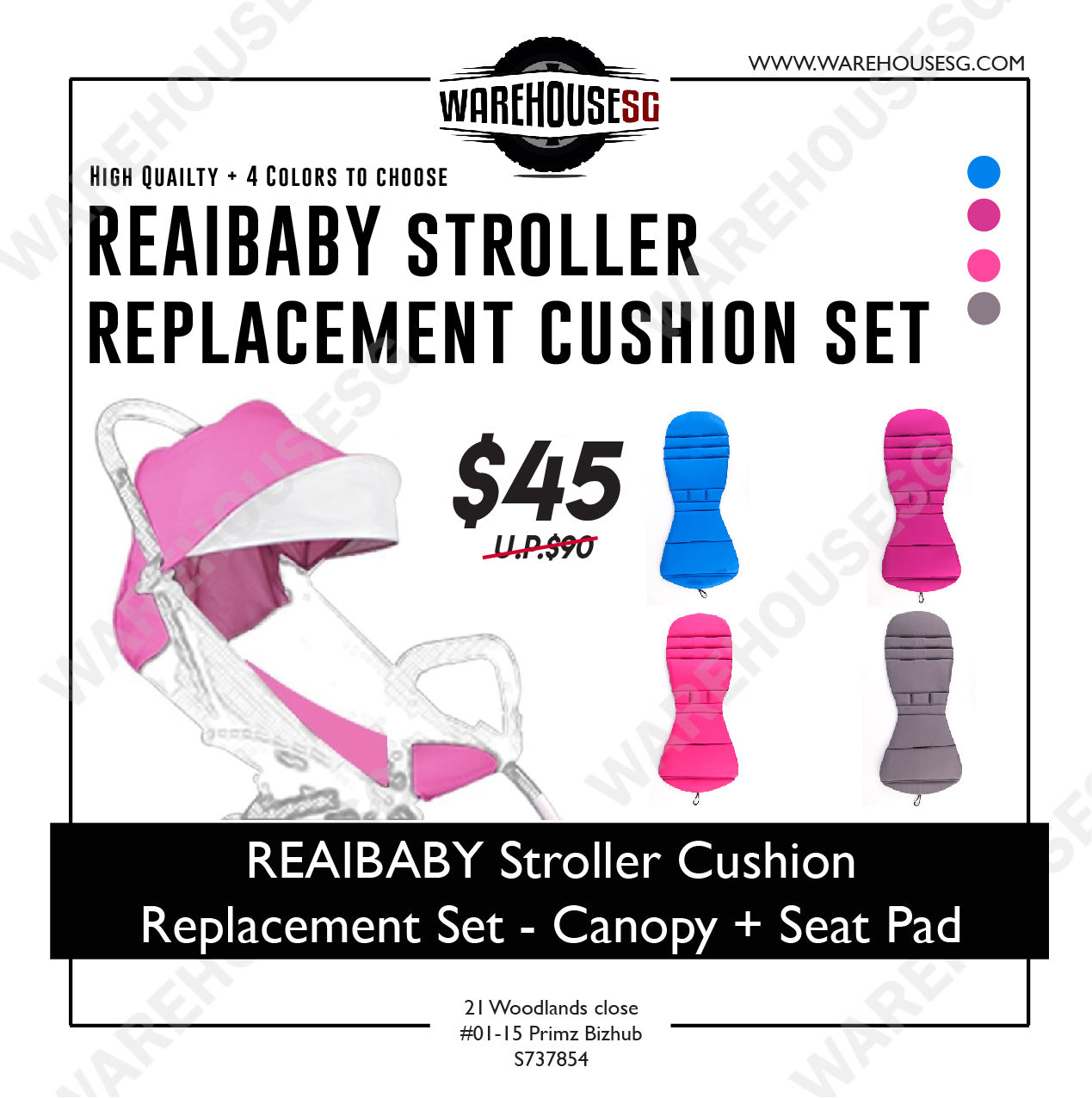 REAIBABY Stroller Cushion Replacement Set – Canopy + Seat Pad