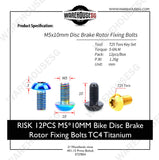 RISK 12PCS M5*10MM Bike Disc Brake Rotor Fixing Bolts TC4 Titanium
