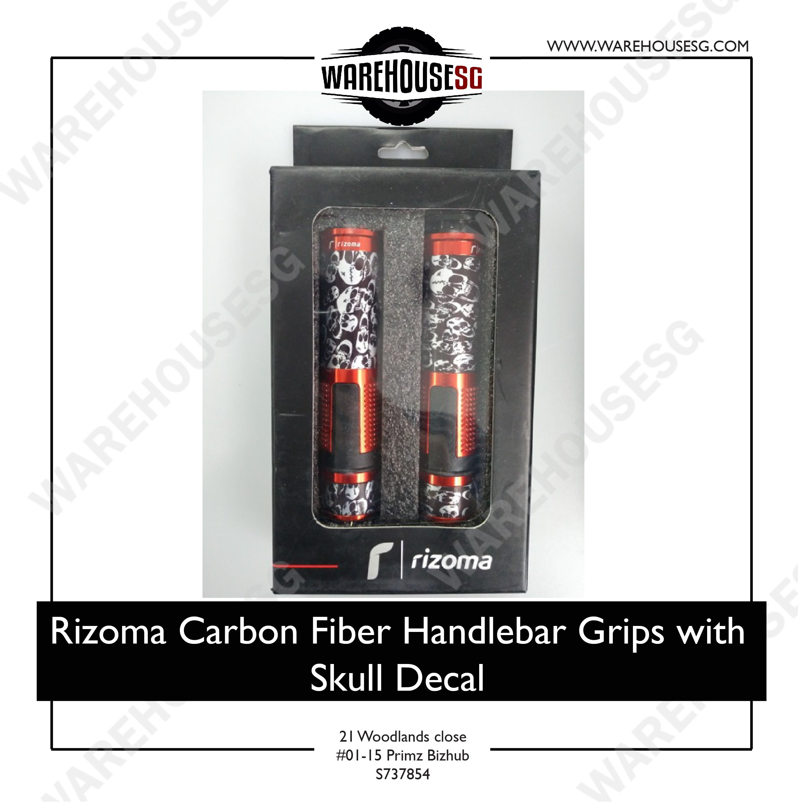 Rizoma Carbon Fiber Handlebar Grips with Skull Decal