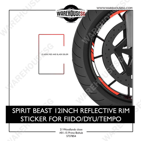 SPIRIT BEAST 12INCH REFLECTIVE RIM STICKER FOR FIIDO/DYU/TEMPO