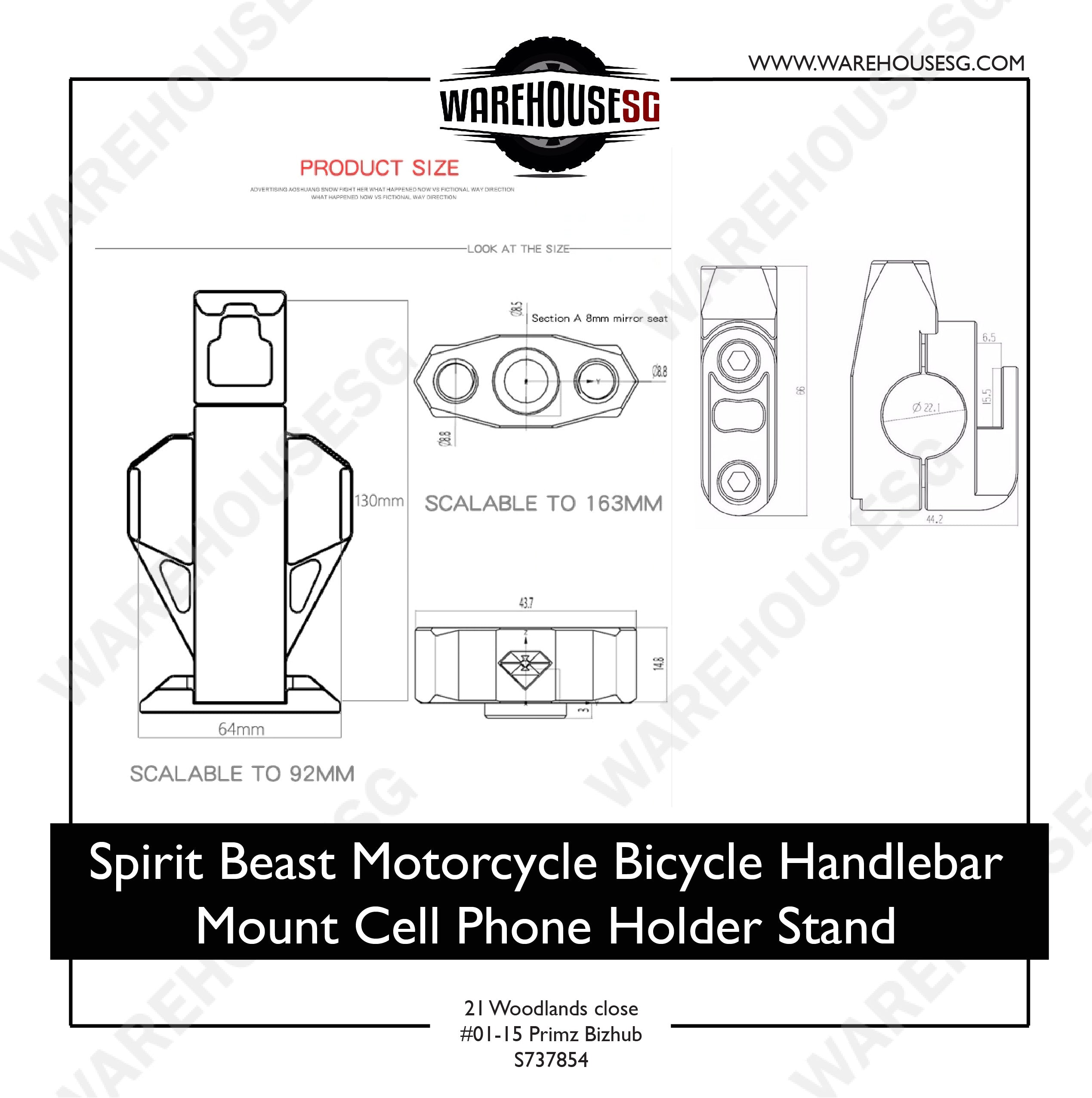 Spirit Beast Motorcycle Bicycle Handlebar Mount Cell Phone Holder Stand