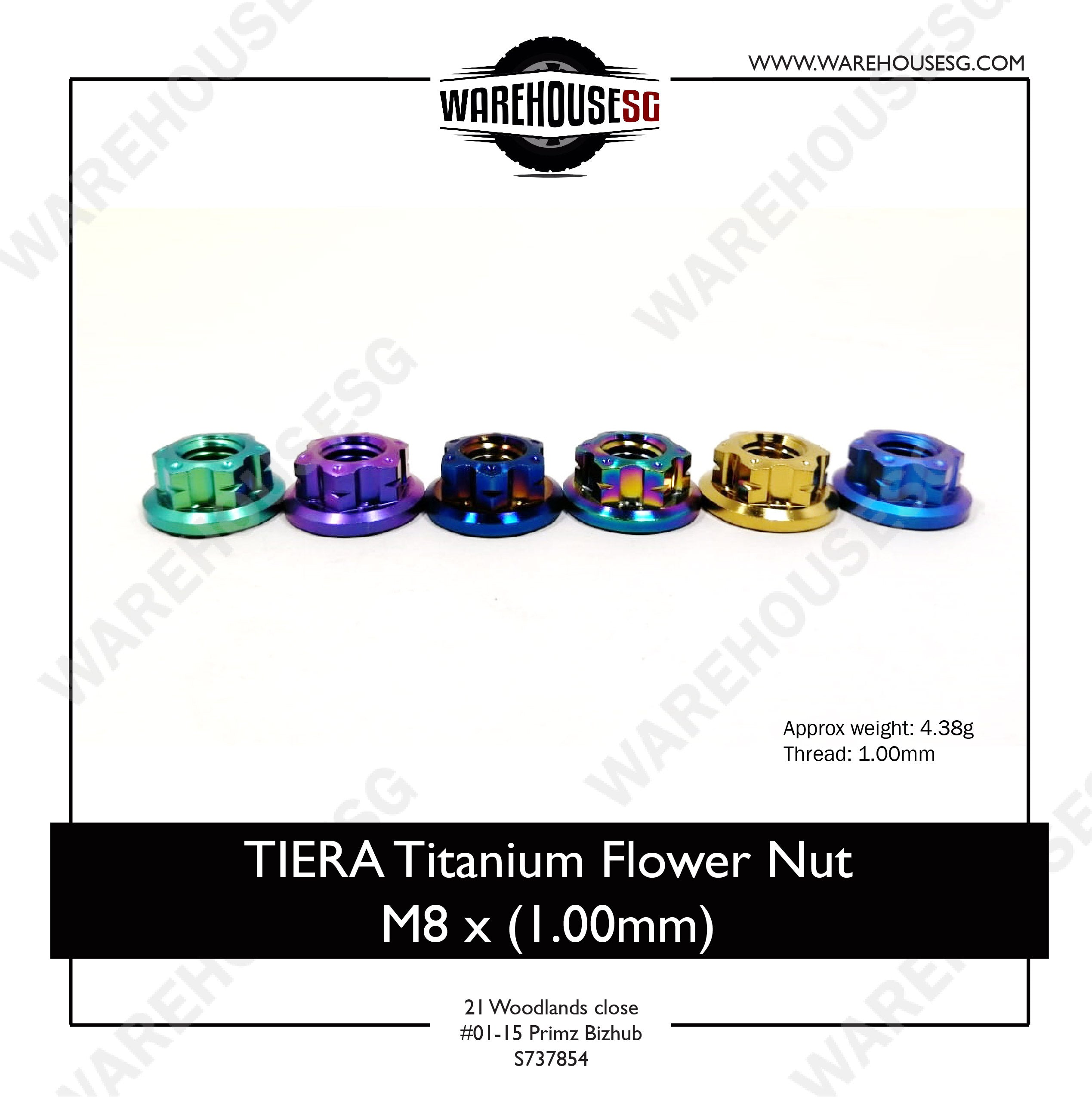 TIERA Titanium Flower Nut M8 x (1.00mm)