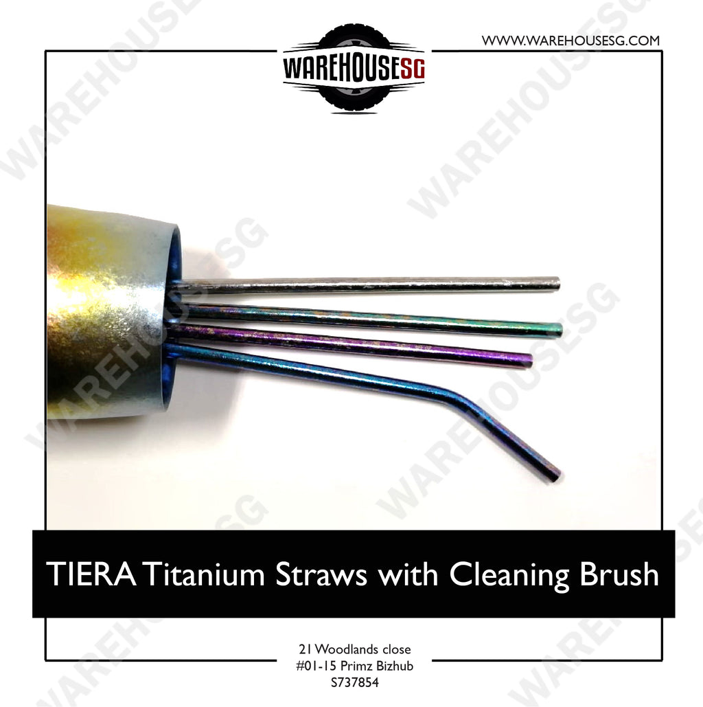 TIERA Titanium Straws with Cleaning Brush- Bend/Straight