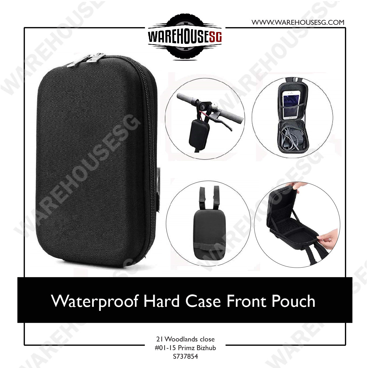 Waterproof Hard Case Front Pouch for Electric Scooter