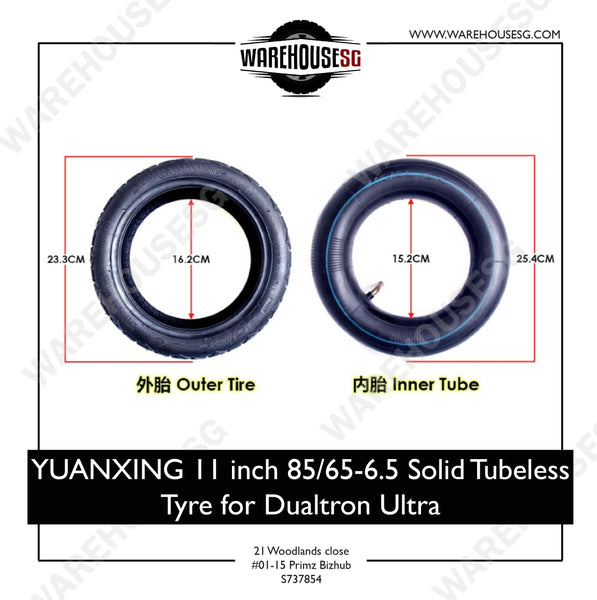 YUANXING 11 inch 85/65-6.5 Solid Tubeless Tyre for Dualtron Ultra